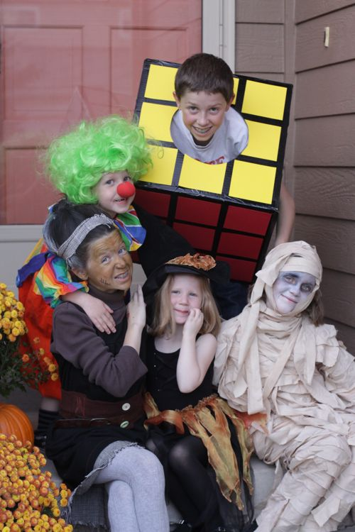 Homemade Halloween Costumes DIY. Clown. Rubiks Cube. Witch. Mummy. Mrs. Frankenstein.