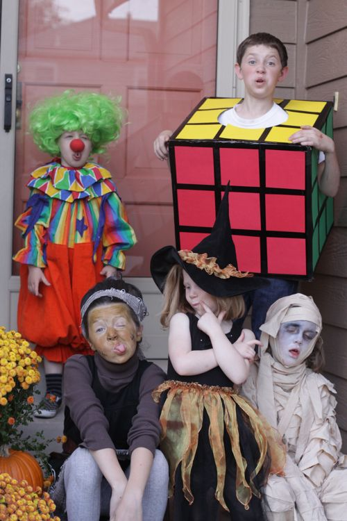 mrs homemade halloween costumes diy clown rubiks cube witch mummy - Halloween Costumes Diy Kids