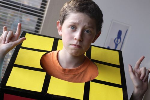 Homemade Rubik's Cube Halloween Costume DIY. Cheap and easy!
