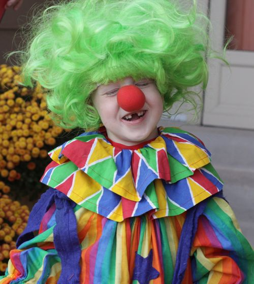 Little kid clown costume for Halloween.