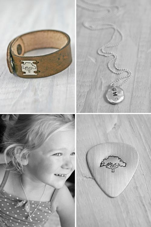 stamped guitar pick silver