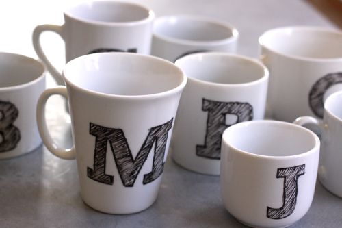 DIY tutorial monogramme mug