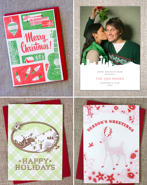 holiday cards letterpress Hello Lucky vintage photo