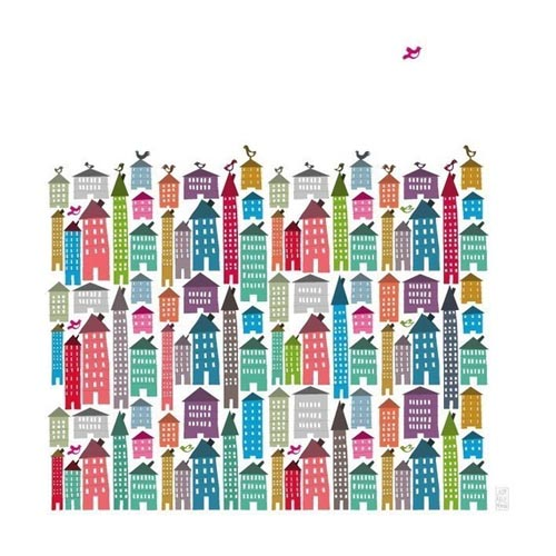 houses and birds poster judy kaufmann