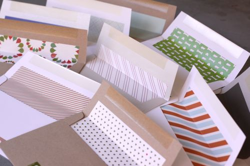 holiday card envelopes lined Minted