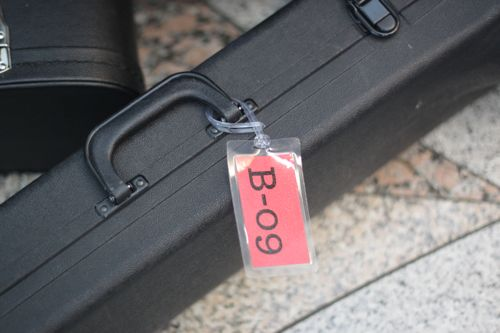 trombone case with luggage tag