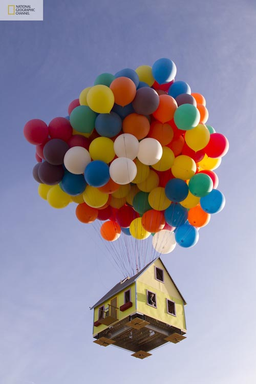 helium balloons floating house