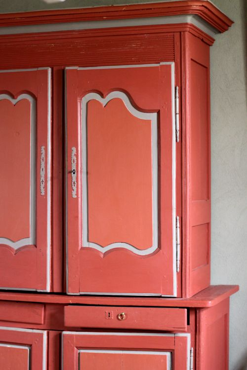 orange red armoire cabinet French