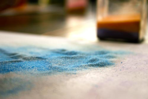 dyed salt with chalk