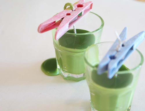 green wax candle project