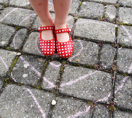red polkadot shoes