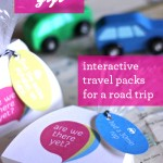 Road trip travel packs to keep kids entertained. DIY at Design Mom.