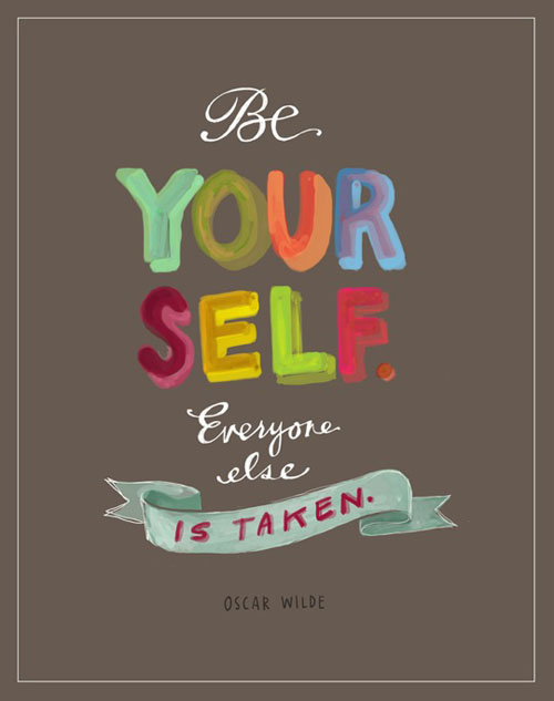 Be Yourself. Hand lettering by Emily McDowell.