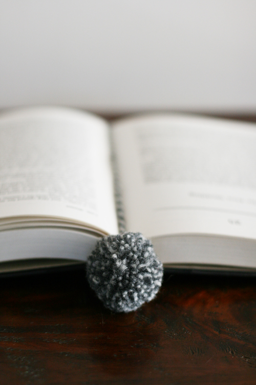 Grey yarn pom pom bookmark 1