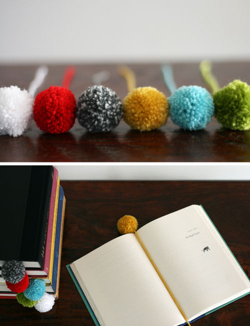 Marquer sa page Yarn-ball-pom-pom-bookmark-2