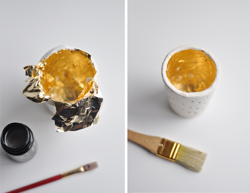 DESIGN MOM: Gold Leaf Plaster Votives. Easy DIY.