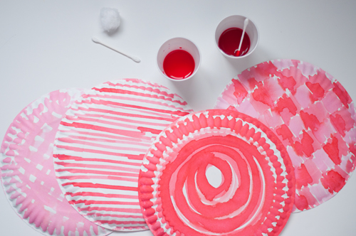 DIY: Easy Paper Plate Berry Boxes. Decorate them with food-coloring instead of watercolors to keep them food safe!  |  Design Mom