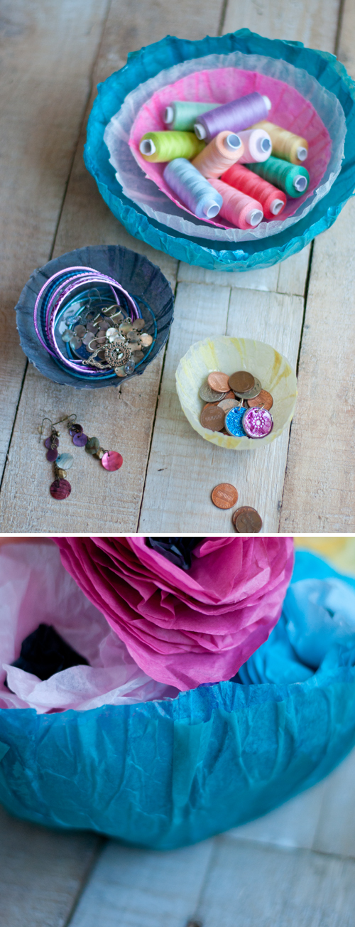 Easy DIY: Make Tissue Paper Bowls  |  Design Mom