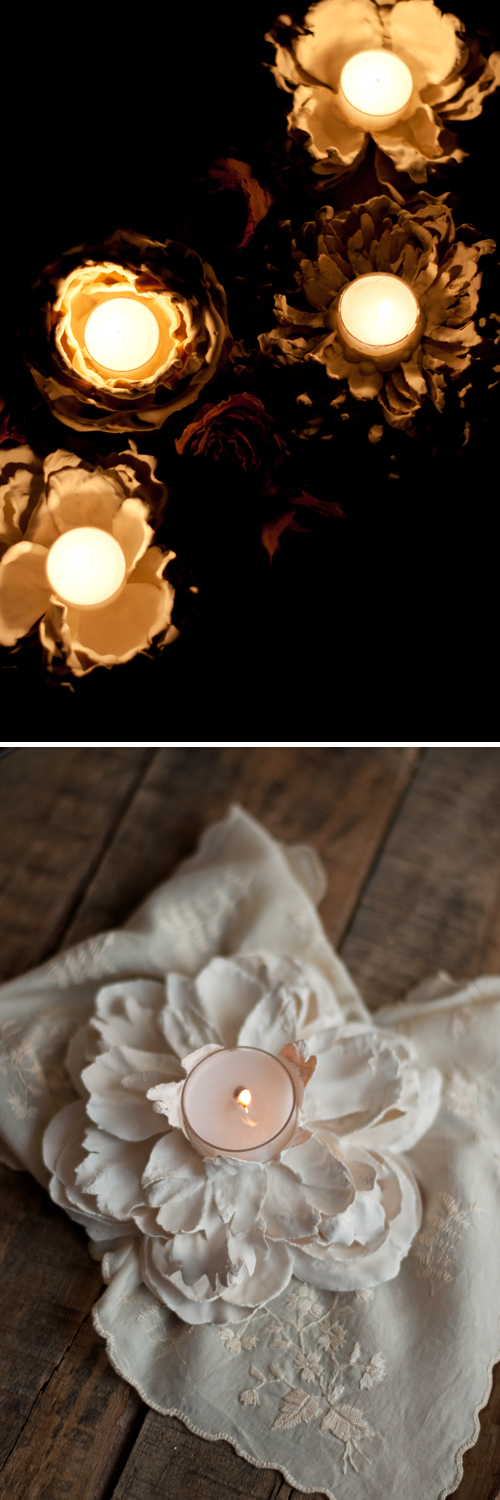 DIY: Gorgeous Plaster Dipped Flower Votives  |  Design Mom