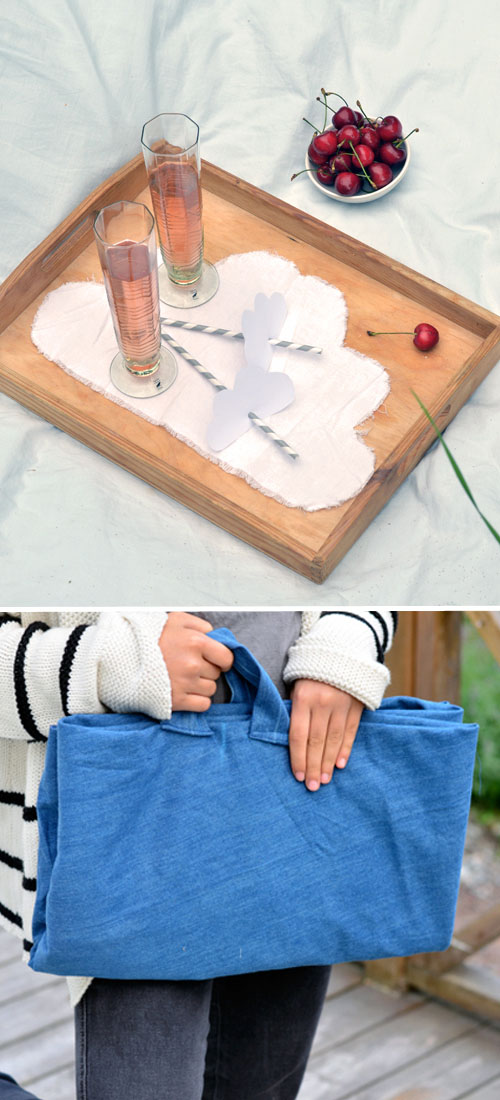 Big & Small Project: Grownups make the Cloud Picnic Blanket with Carrying Handles, while Children make the Simple Cloud Napkins.  |  Design Mom