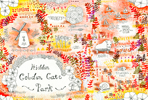 hidden golden gate park map by Jen Reyn