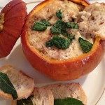 pumpkin soup/gratin makes a great fall dinner (or appetizer with friends!)