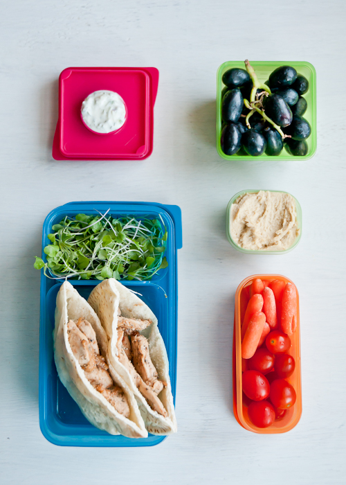 chicken gyos + hummus