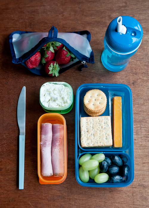 crackers, ham, cheese, fruit