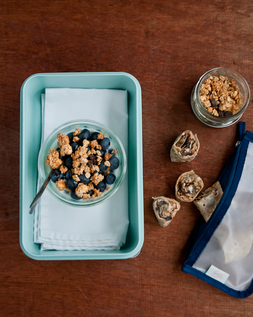 greek yogurt, blueberries, granola + rollup