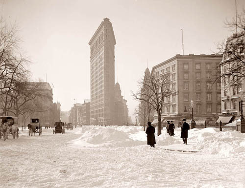 Snow Scene in Old New York City