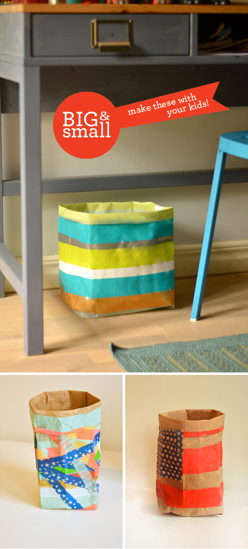 Big & Small Project: Household Containers for Organizing Your Stuff. Grownups use Duct Tape and Kids use Washi Tape. Work side-by-side and make something great!   |   Design Mom