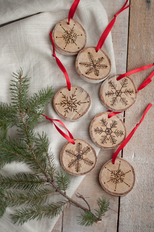 diy etched snowflake ornaments in birch so easy design mom etched - Birch Christmas Decorations