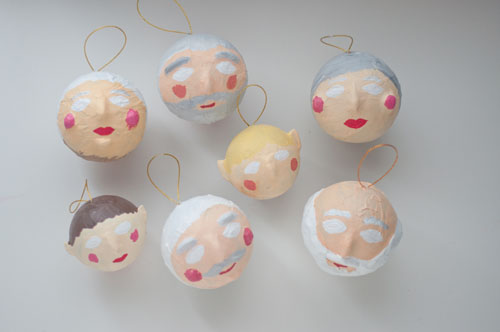 DIY Papier Maché Ornaments. Santa, Mrs. Claus & Elves!   |   Design Mom
