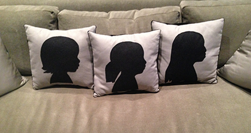DIY: Easy Silhouette Pillows. A wonderful personalized gift!
