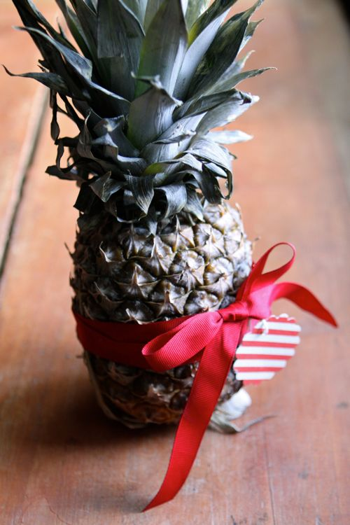 A whole pineapple as gift. (Click through for 9 last-minute hostess gifts - find them at any grocery store on your way to the party!)