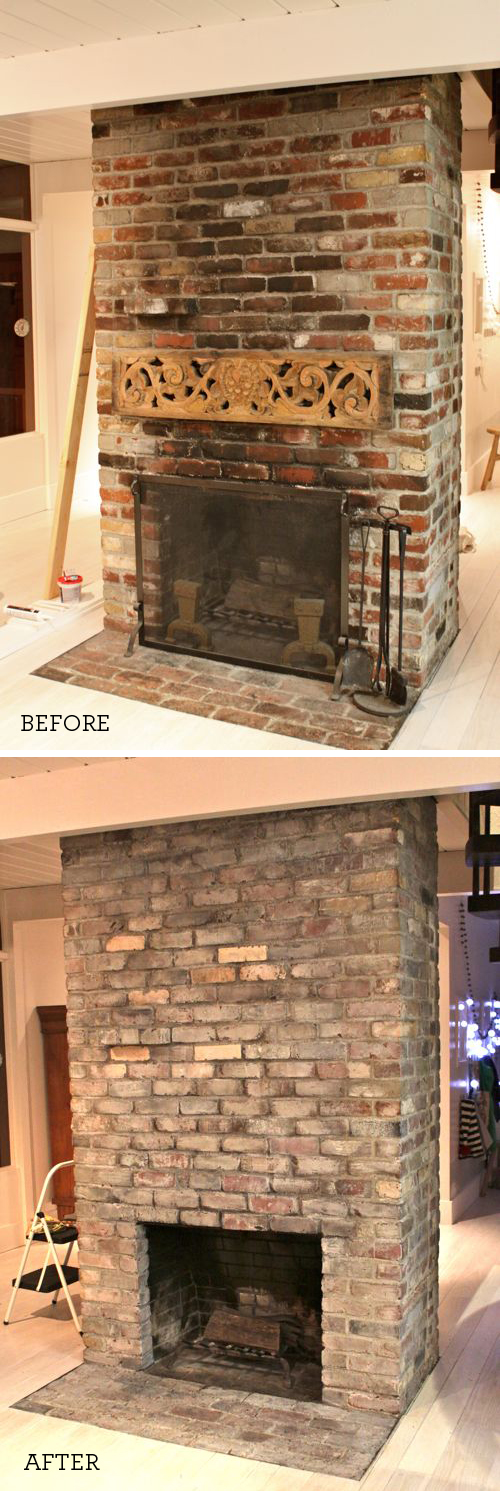 Whitewashed Bricks Before & After  |  Design Mom