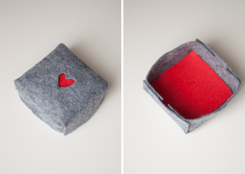 DIY Felt Boxes for Valentine's Day — make cut outs in the top in any shape you like!   |   Design Mom