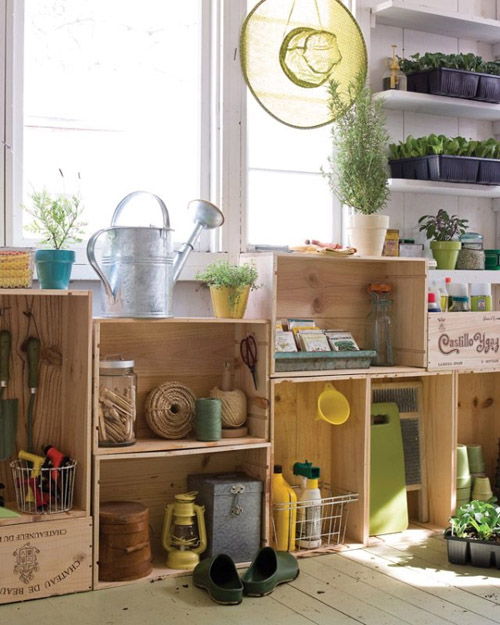 crate shelves for gardening supplies