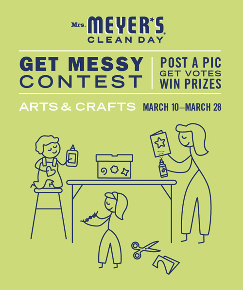 It's a Mrs. Meyer's #GetMessyContest! Win a custom-designed creativity center, fully stocked with arts & crafts supplies, PLUS a party for up to 30 friends, led by Gabrielle Blair of Design Mom.