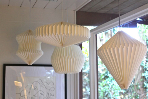 Origami Pendant Lamps. From The Treehouse Living Room Tour.  |  Design Mom