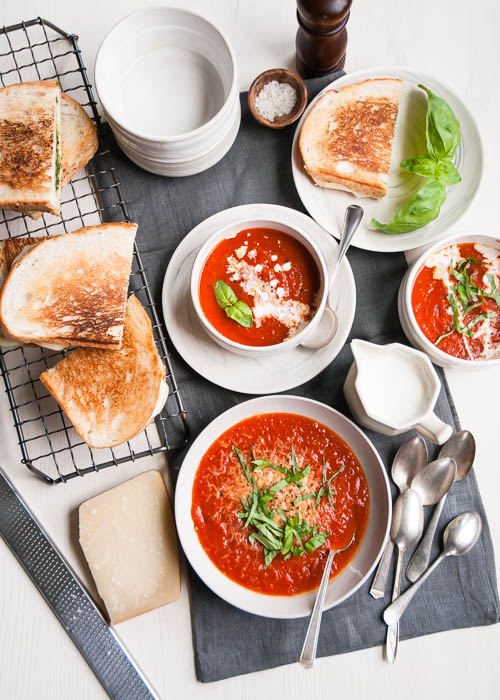 Slow cooker tomato soup grilled cheese