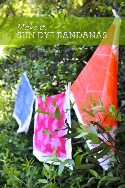 DIY: Sun Dye Bandanas. You've got to try this. Sun dye is awesome!  |  Design Mom