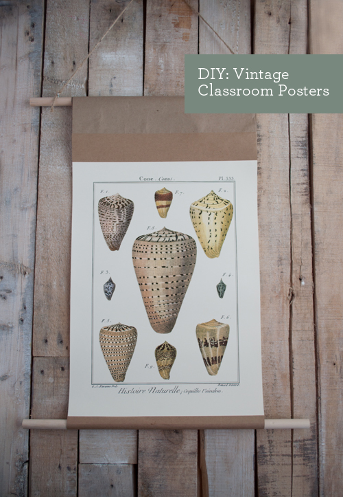 DIY: Vintage Classroom-Style Posters. Better than a crummy frame!  |  Design Mom