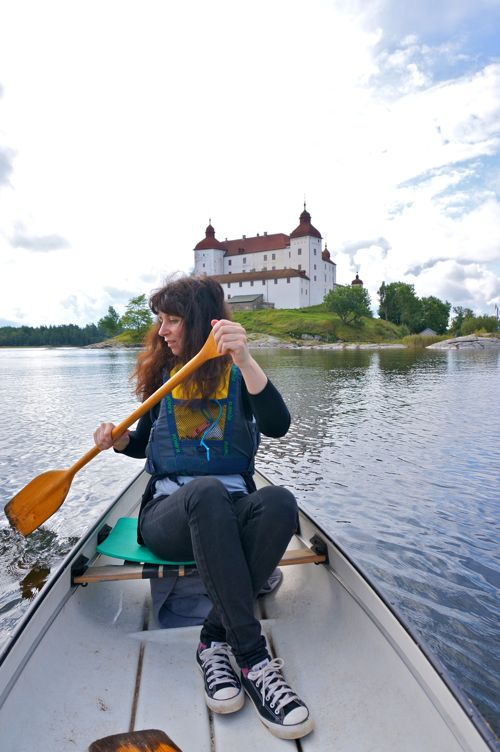 Canoeing at Läckö Castle in West Sweden