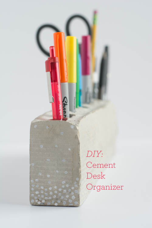 Diy Cement Desk Organizer And Pencil Holder Design Mom