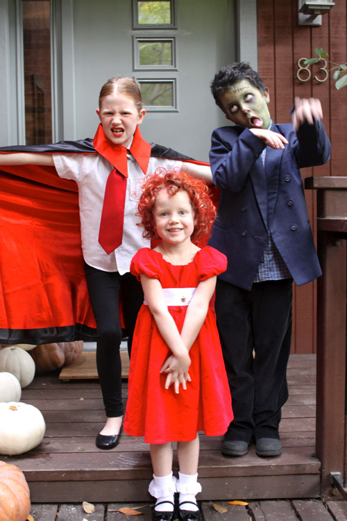 Homemade Costumes perfect for Halloween. Little Orphan Annie, Count Dracula, and Frankenstein.