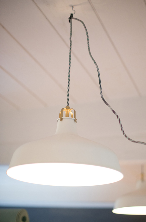 Ceiling pendant lamp. A shared bedroom for FOUR sisters.