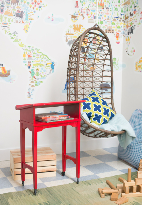 world map and hanging chair