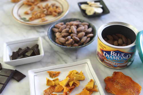 """Healthy Snack: Toasted Coconut Almonds + Dried Tropical Fruit (or Dark Chocolate!). In a snack-time rut? Click through for food """"pairings"""" that will spice things up!"""