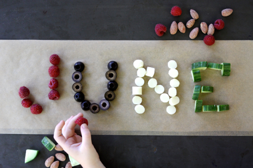 After-school snack idea: write your name with food! Easy and fun. (And YUMMY!)